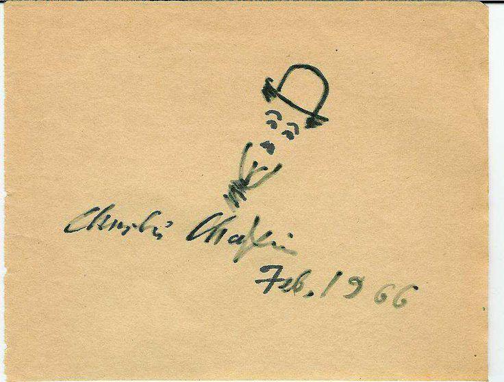 Чарли Чаплин - рисунок и автограф 1966 г.