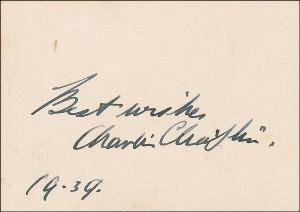 Чарли Чаплин - автограф 1939